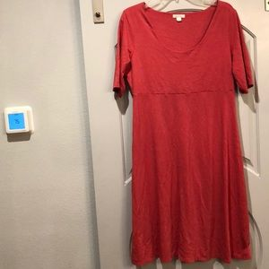 Garnet Hill coral T-shirt fit and flare dress.NWOT